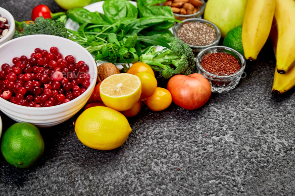 Healthy food background, trendy Alkaline diet products. - Stock Photo - Images