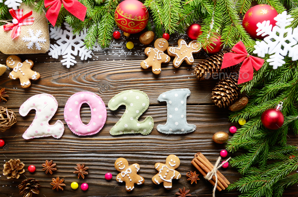 Colorful stitched digits 2021 of polkadot fabric with Christmas - Stock Photo - Images
