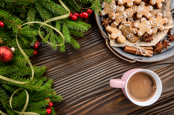 Flat lay Christmas background of pink mug with hot chocolate, sp - Stock Photo - Images