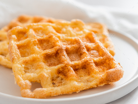 Savory keto two ingredients waffles - chaffles - Stock Photo - Images