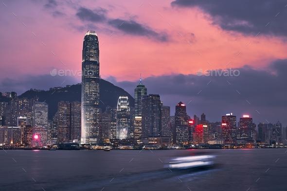 Hong Kong skyline at dusk - Stock Photo - Images