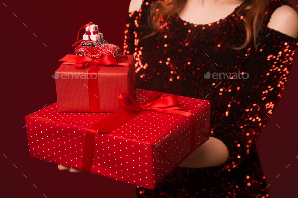 Christmas gifts giving - Stock Photo - Images