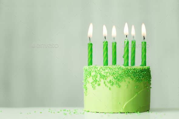 Green birthday cake - Stock Photo - Images