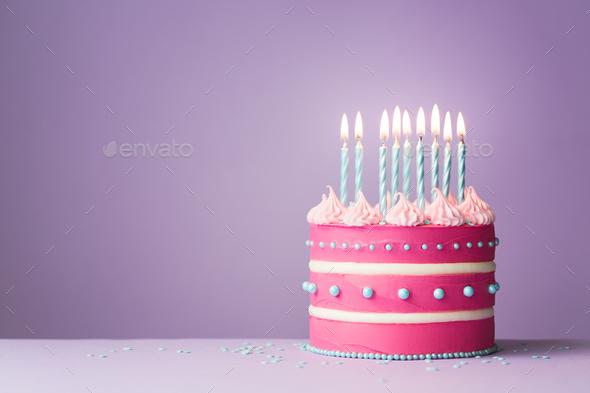 Pink birthday cake - Stock Photo - Images