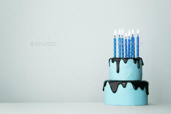 Blue birthday cake - Stock Photo - Images