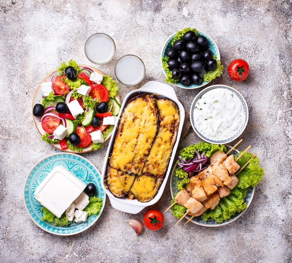 Assortment of traditional greek dishes - Stock Photo - Images