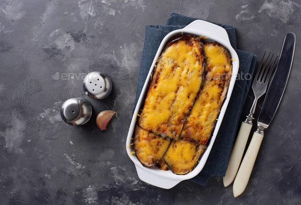 Traditional Greek moussaka with aubergine - Stock Photo - Images