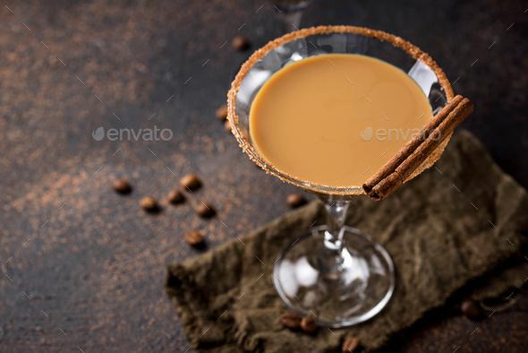 Chocolate martini cocktail or Irish cream liquor - Stock Photo - Images