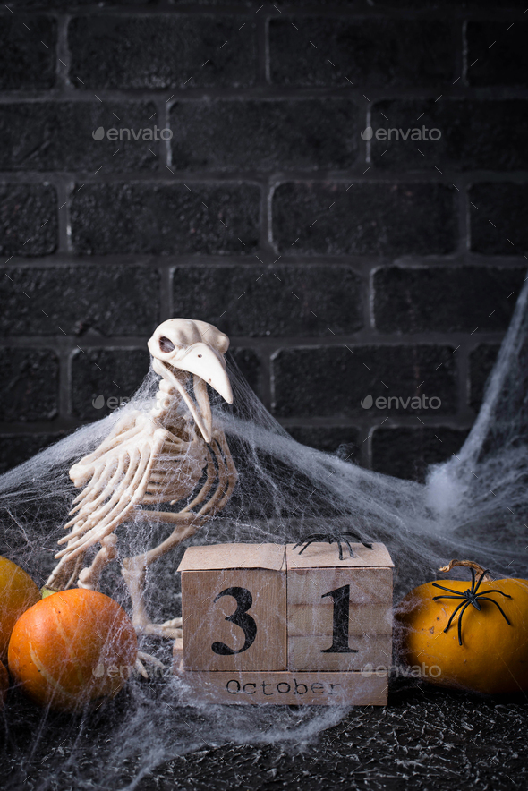 Halloween background with wooden calendar - Stock Photo - Images