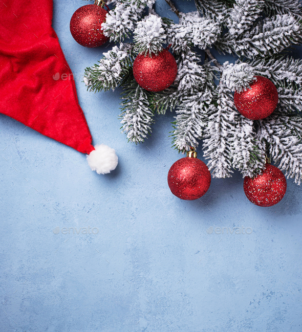 Christmas background with branch of tree - Stock Photo - Images