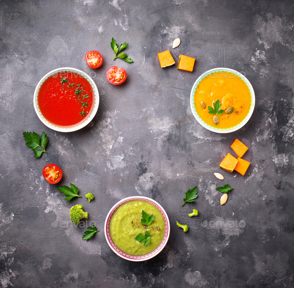 Set of different vegetable cream soups - Stock Photo - Images