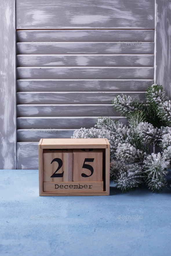 Christmas background with wooden calendar - Stock Photo - Images
