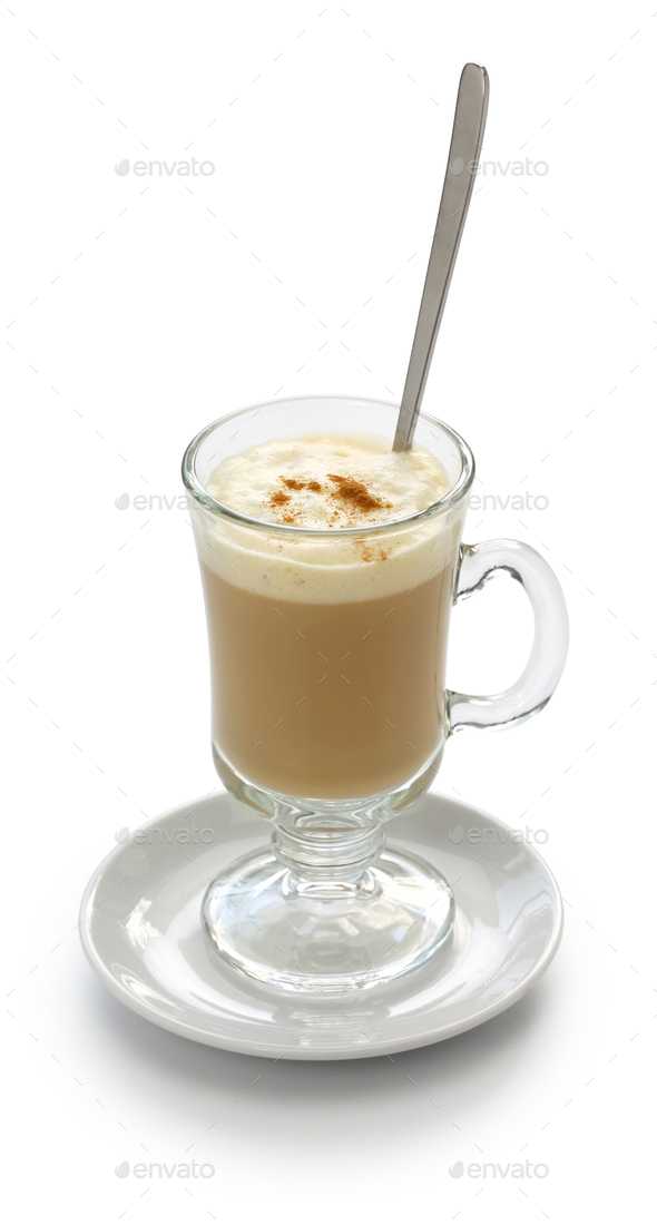 galao, portuguese milk coffee drink - Stock Photo - Images