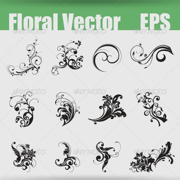Floral Shapes EPS - Flourishes / Swirls Decorative