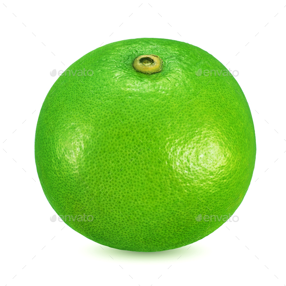 Green sweetie citrus fruit isolated on white background. - Stock Photo - Images