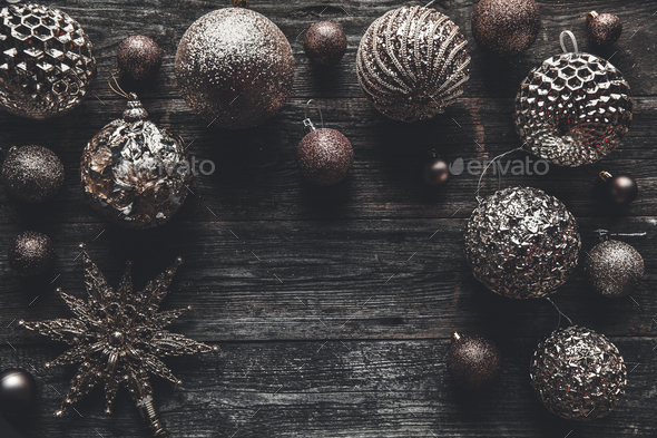 Christmas or New Year background. Vintage Christmas tree toy decoration balls over wooden background - Stock Photo - Images