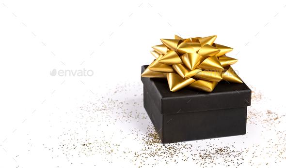 Gift Box on Festive White Background - Stock Photo - Images