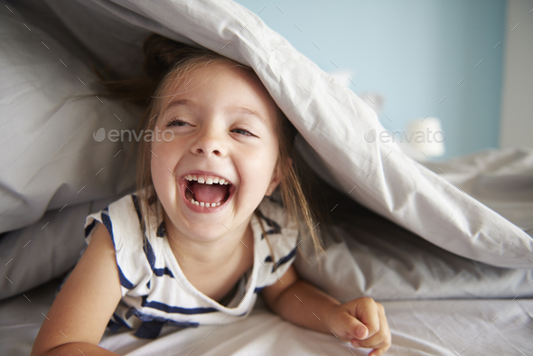 Laugh out loud small baby girl - Stock Photo - Images