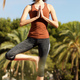 young woman standing open one leg in yoga position - PhotoDune Item for Sale