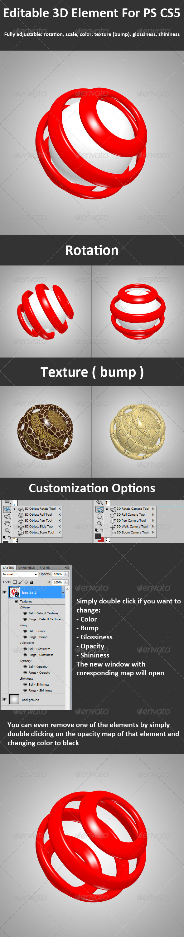 3D Element ( Layer ) For PS CS5, Full 3d Options - Objects 3D Renders