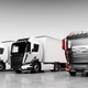 Fleet of trucks with cargo trailers. Transport, shipping industry. - PhotoDune Item for Sale