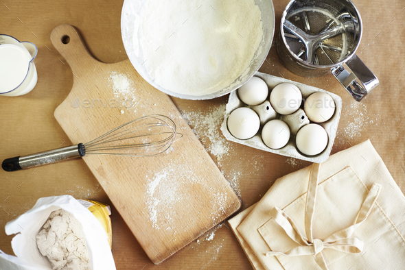 Basic baking ingredients on the table - Stock Photo - Images