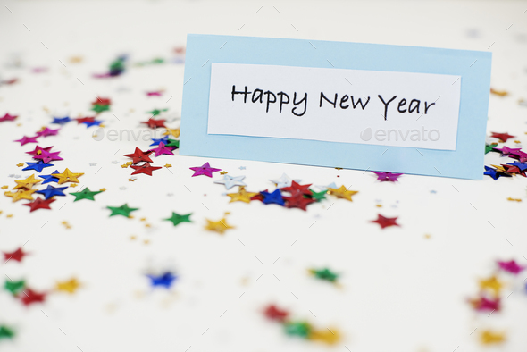 Small paper note showing joyful wishes - Stock Photo - Images