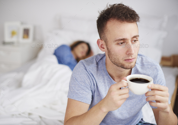 Worried man thinking about the future - Stock Photo - Images