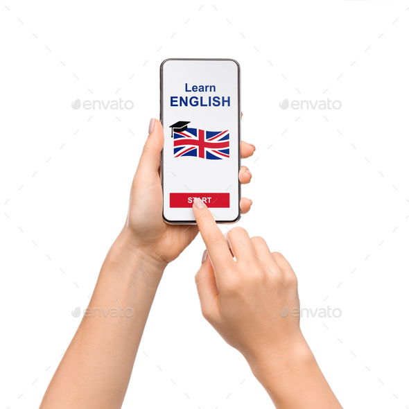 Woman Using Application On Smartphone For Learning English - Stock Photo - Images