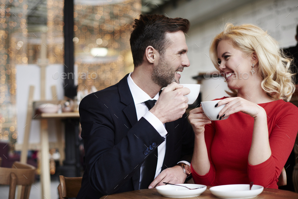 Romantic scene of joyful couple - Stock Photo - Images