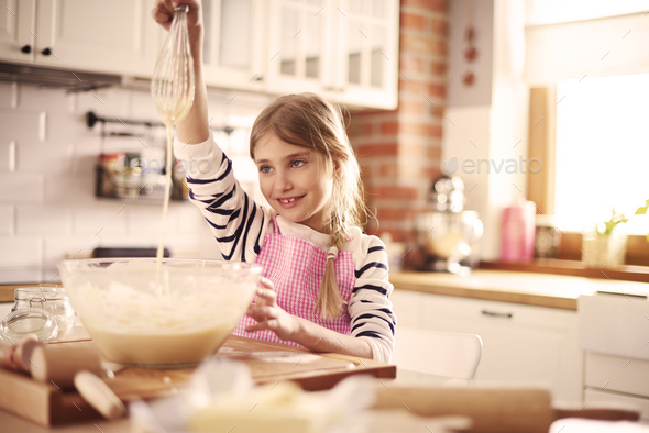 Top view of girl preparing dough - Stock Photo - Images