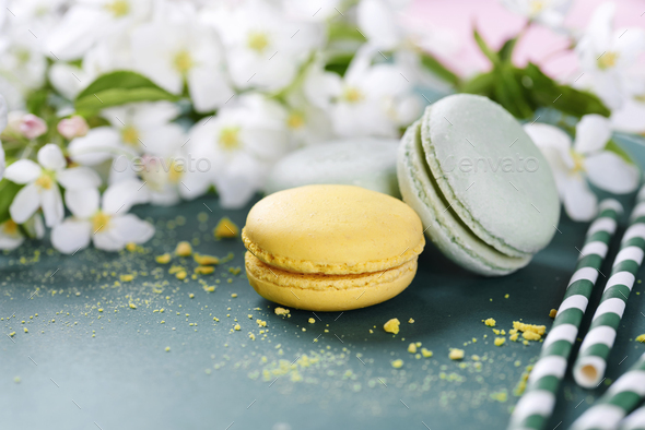 Arrangement of sweet food and flowers - Stock Photo - Images