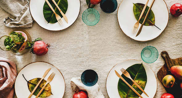 Autumn table styling or setting for holiday celebration, wide composition - Stock Photo - Images