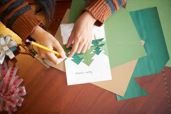 Making holiday greeting card - Stock Photo - Images