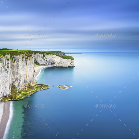 Etretat, rock cliff and beach. Aerial view. Normandy, France - Stock Photo - Images