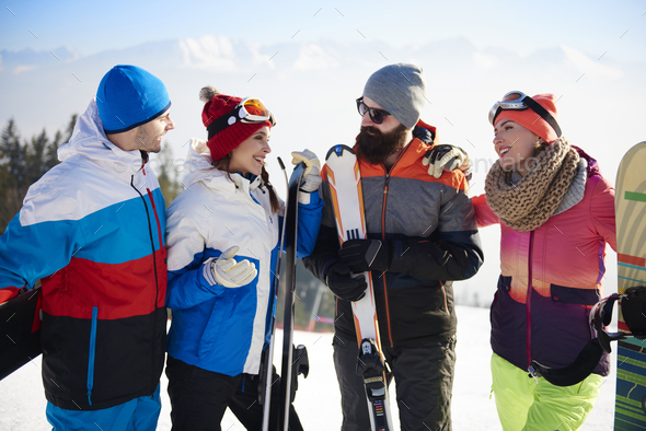 Group of friends having ski weekend - Stock Photo - Images