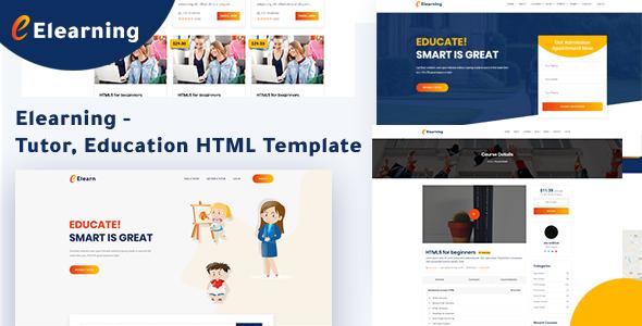 Elearning - Tutor, Education HTML Template by themeies