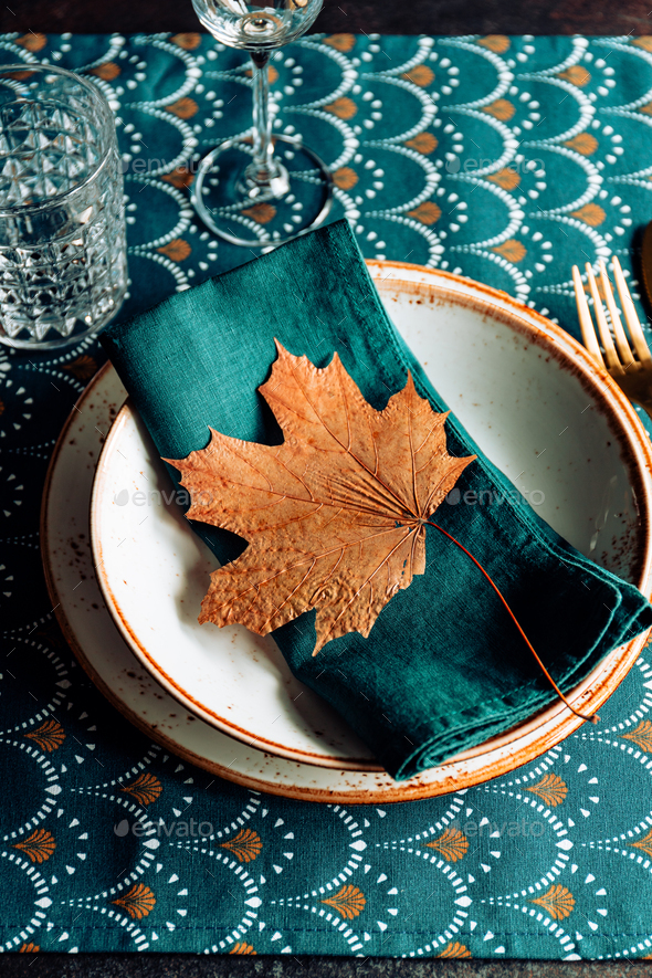 Festive table place for Thanksgiving dinner with Autumn decor. - Stock Photo - Images
