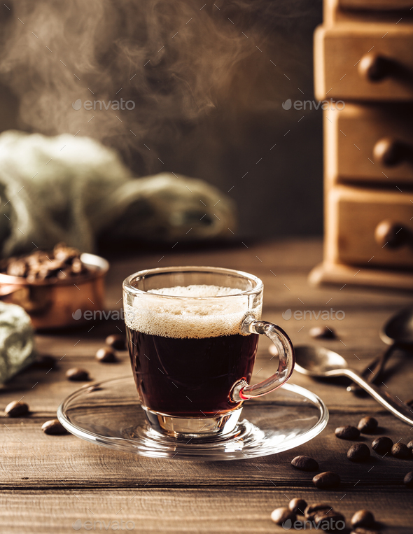 Steaming coffee cup - Stock Photo - Images