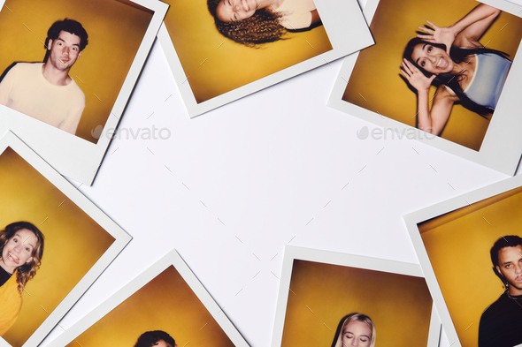 Instant Film Photos Of Young Men And Women For Modeling Casting In Studio On White Background - Stock Photo - Images