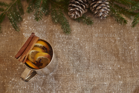 Mulled wine in silver mug - Stock Photo - Images