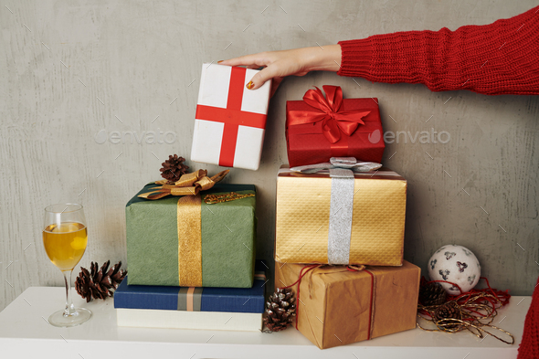 Stack of Christmas presents - Stock Photo - Images