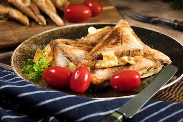 Grilled cheese sandwich. - Stock Photo - Images