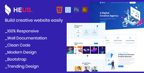 Heus - One Page Creative Agency & Digital Marketing Html Template by webmakerbd