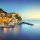 Manarola village, rocks and sea. Cinque Terre, Italy. Long Expos - PhotoDune Item for Sale