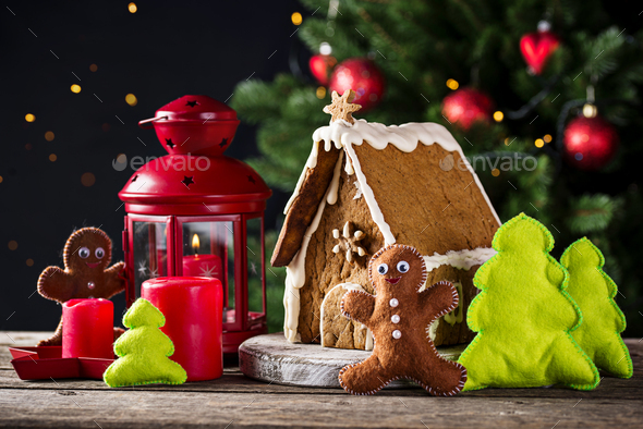 Christmas homemade decorative gingerbread house - Stock Photo - Images