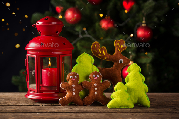 Christmas composition with decorative toy - Stock Photo - Images