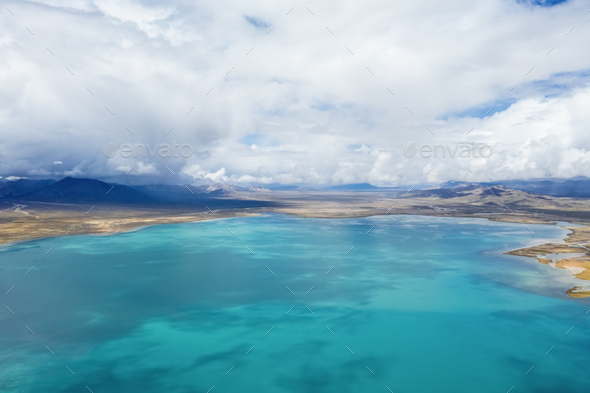 aerial view of beautiful plateau lake - Stock Photo - Images