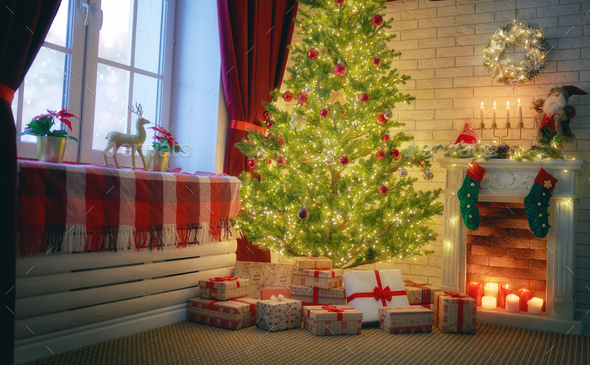living room decorated for holidays - Stock Photo - Images
