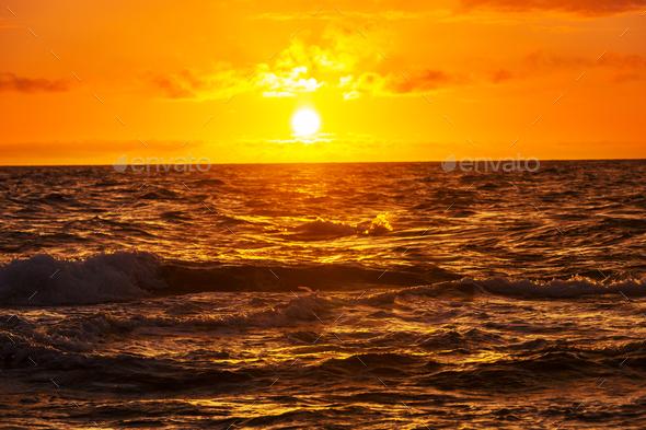 Sea sunset - Stock Photo - Images